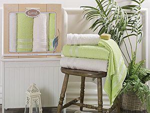 Комплект полотенец Karna Petek, кремовый и зеленый