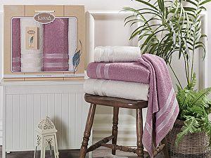 Комплект полотенец Karna Petek, кремовый и грязно-розовый