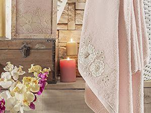 Купить полотенце Irya Fleur 85х150 см с гипюром, розовое