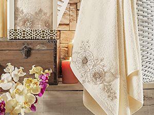 Купить полотенце Irya Fleur 85х150 см с гипюром, золотистое