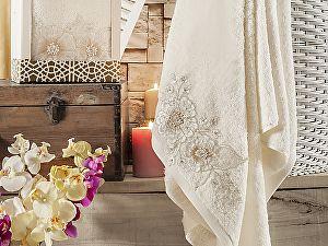 Купить полотенце Irya Fleur 85х150 см с гипюром, кремовое