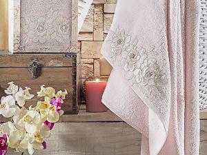 Полотенце Irya Romantic 85х150 см с гипюром, розовое