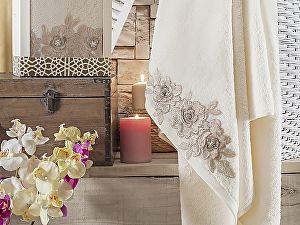 Купить полотенце Irya Romantic 85х150 см с гипюром, молочное