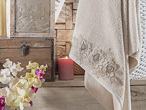 Полотенце Irya Romantic 85х150 см с гипюром, бежевое