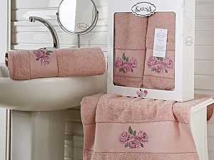 Комплект полотенец Karna Havin, грязно-розовый