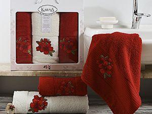 Комплект полотенец Karna Orkide, бордовый арт. 2361/char002