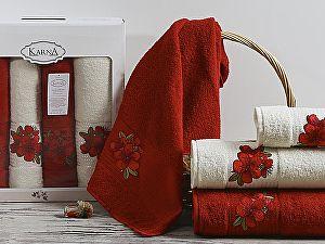 Комплект полотенец Karna Orkide, бордовый арт. 2362/char002