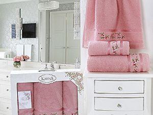 Комплект полотенец Karna Monica, грязно-розовый арт. 2393/char002