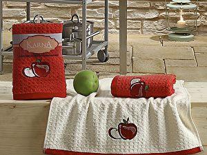 Комплект полотенец Karna Lemon V1 45x65 см, красный