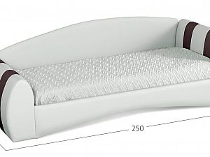 Кровать односпальная Кальвет (правая) Модель 386 Марципан/кофе с основанием