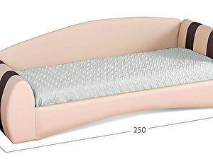 Кровать односпальная Кальвет (правая) Модель 386 Суфле/кофе с основанием