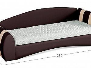 Кровать односпальная Кальвет (правая) Модель 386 Кофе/Суфле с основанием