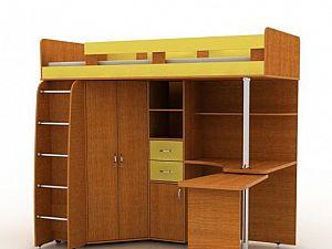 Кровать-чердак Гармония Карлсон 2 с деревянной лестницей, арт. 14.717