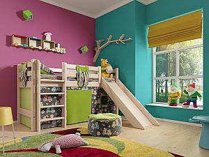 Кровать низкая Райтон Отто-13 с прямой лестницей и горкой