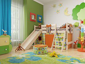 Кровать низкая Райтон Отто-14 с наклонной лестницей и горкой
