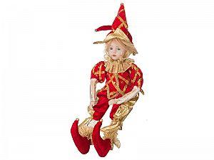 Музыкальная интерьерная кукла Арлекин в красном камзоле, арт. 856-007