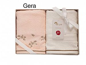 Набор из 2-х полотенец Arya Gera, персиковый-экрю