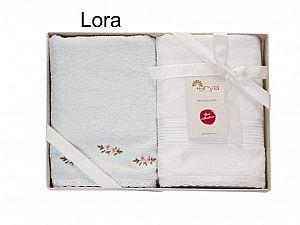 Набор из 2-х полотенец Arya Lora, мятный-белый