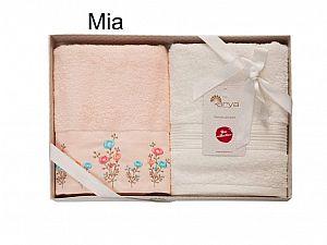 Набор из 2-х полотенец Arya Mia, персиковый-экрю