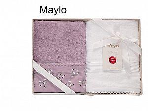 Набор из 2-х полотенец Arya Maylo, лиловый-белый