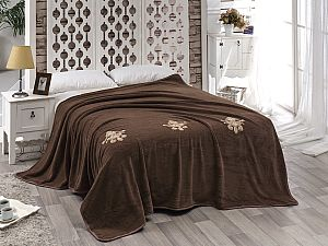 Покрывало Karna Damask с вышивкой, коричневое
