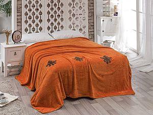 Покрывало Karna Damask с вышивкой, кирпичное