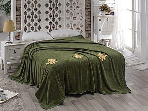 Покрывало Karna Damask с вышивкой, зеленое
