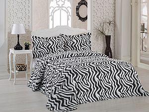 Покрывало Karna Zebra черное, с наволочками