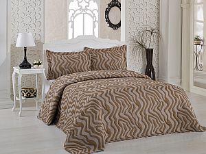 Покрывало Karna Zebra коричневое, с наволочками