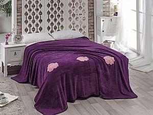Покрывало Karna Rose с вышивкой, фиолетовое