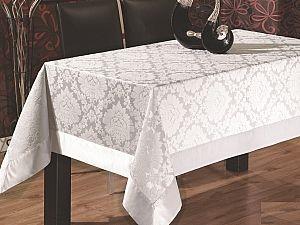Скатерть Verolli Floc Damask 160х220 см, белая