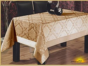 Скатерть Verolli Floc Damask 160х220 см, коричневая