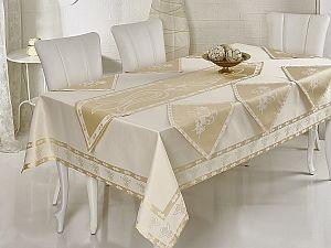 Скатерть Verolli Ottoman 160х220 см, с раннером и салфетками, кремовая