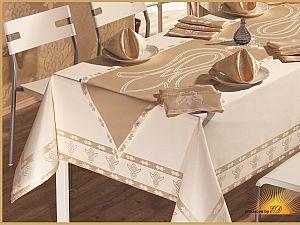Скатерть Verolli Ottoman 160х220 см, с раннером и салфетками, золотистая