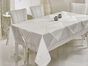Скатерть Verolli Ottoman 160х220 см, с раннером и салфетками, белая