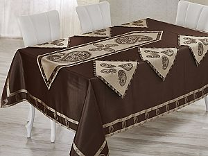 Скатерть Verolli Buta 160х220 см, с раннером и салфетками, коричневая