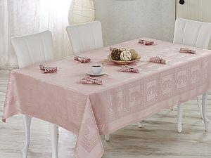 Скатерть Verolli Royal 160х220 см, с салфетками, розовая