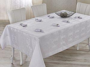 Скатерть Verolli Royal 160х220 см, с салфетками, белая