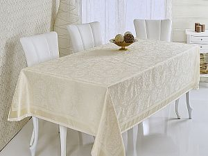 Скатерть Verolli Mozaik 160х220 см, кремовая