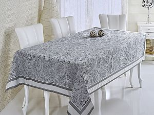 Скатерть Verolli Mozaik 160х220 см, серебряная