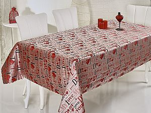 Скатерть Verolli My Love 160х220 см, красная с чёрным