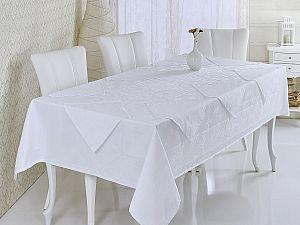 Скатерть Verolli Etamin Jumnbo Set 160х220 см, c салфетками, белая