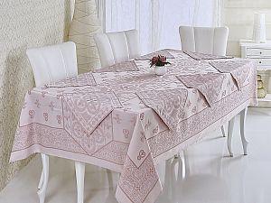 Скатерть Verolli Etamin Jumnbo Set 160х220 см, c салфетками, пудра
