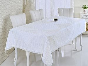 Скатерть Verolli Rozalit 160х220 см, с салфетками, белая