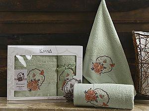 Комплект полотенец Karna Demet, зеленый