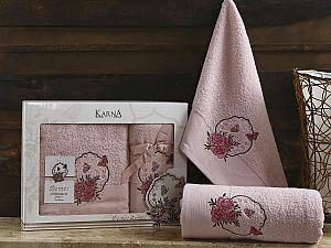 Комплект полотенец Karna Demet, грязно-розовый