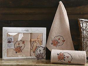 Комплект полотенец Karna Demet, абрикосовый