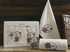 Комплект полотенец Karna Demet, кремовый