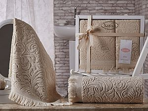 Комплект полотенец Karna Esra, бежевый