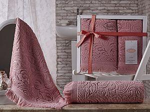 Комплект полотенец Karna Esra, розовый